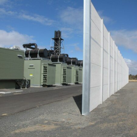 DuneWall with AcoustX Panel by Wallmark Australia 5m high at Bunbury Power Station WA