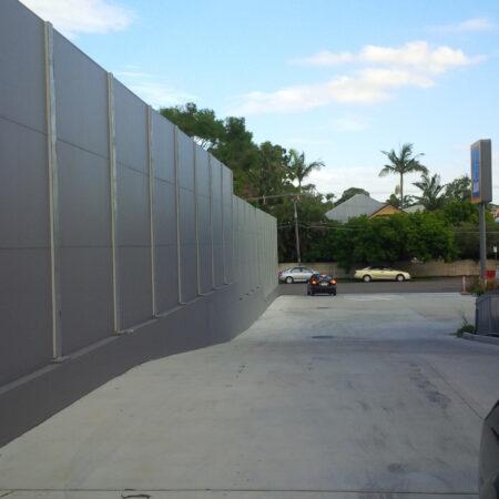 DuneWall with AcoustX Panel by Wallmark Australia 6m high at Aldi Sandgate QLD
