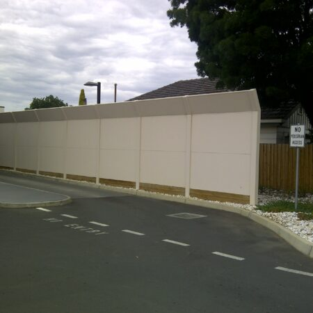 DuneWall with AcoustX Panel with crank angle by Wallmark Australia 3m high at McDonalds Epsom VIC