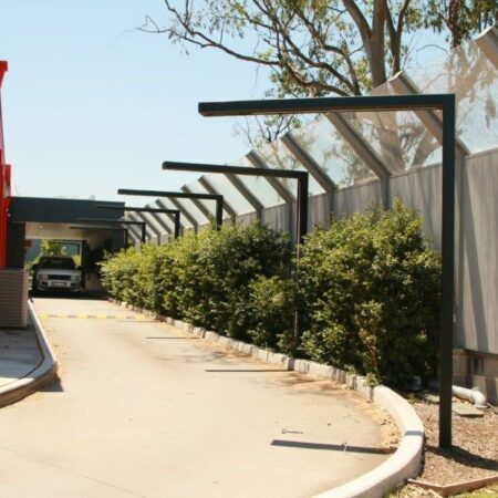 DuneWall with AcoustX Panel with crank angle plexiglass by Wallmark Australia 3.5m high at Casula NSW
