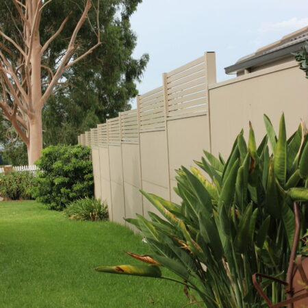 Evowall with AcoustX panel and slat insert by Wallmark 2.4m high at Albury, NSW