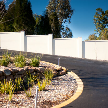 UrbanWall with AcoustX Panel by Wallmark. 2.1m high at Albury, NSW